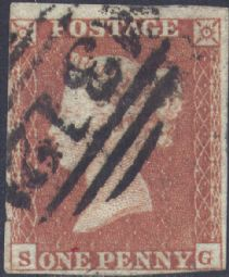 1852 1d Red SG8 Plate 165 'SG'